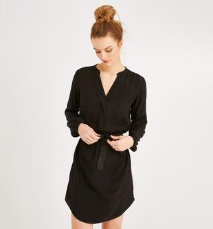 Robe tunique ceinturée femme noir - promod
