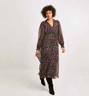 Longue robe imprimée imprimé noir - promod