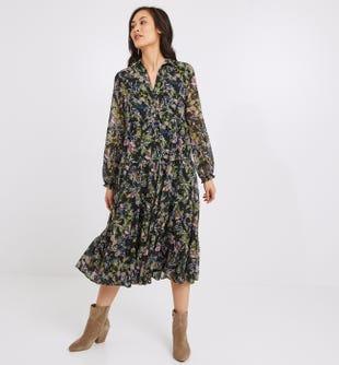 Longue robe bohème femme imprimé noir - promod