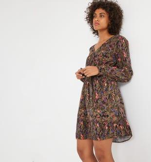 Robe courte imprimée femme imprimé multicolore...