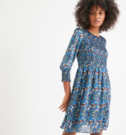 Robe Smockee Femme Imprime Bleu Robes Promod