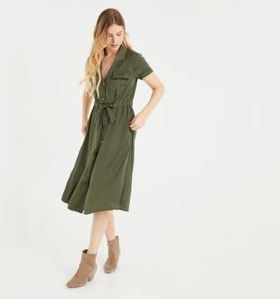 Robe-chemise soyeuse femme