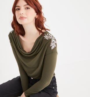 T-shirt col bénitier femme