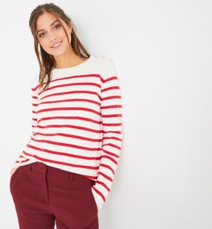 Pull marin femme rayé rouge - promod