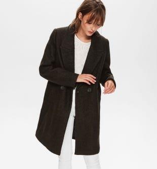 Manteau laine mélangée femme