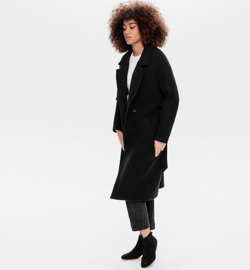 Promod Long Manteau Femme Rayé Noir 46: : Vêtements