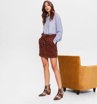 Mini-jupe en velours côtelé