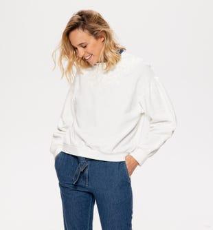 Sweat-shirt brodé femme