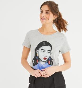 T-shirt à motif placé femme