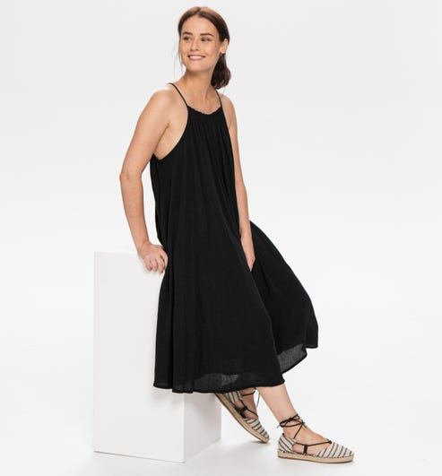 Robe A Fines Bretelles Femme Noir Robes Promod