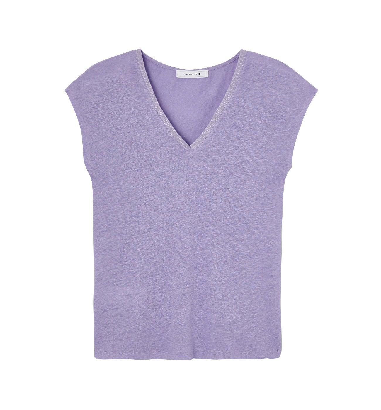 T-shirt col V en lin Femme