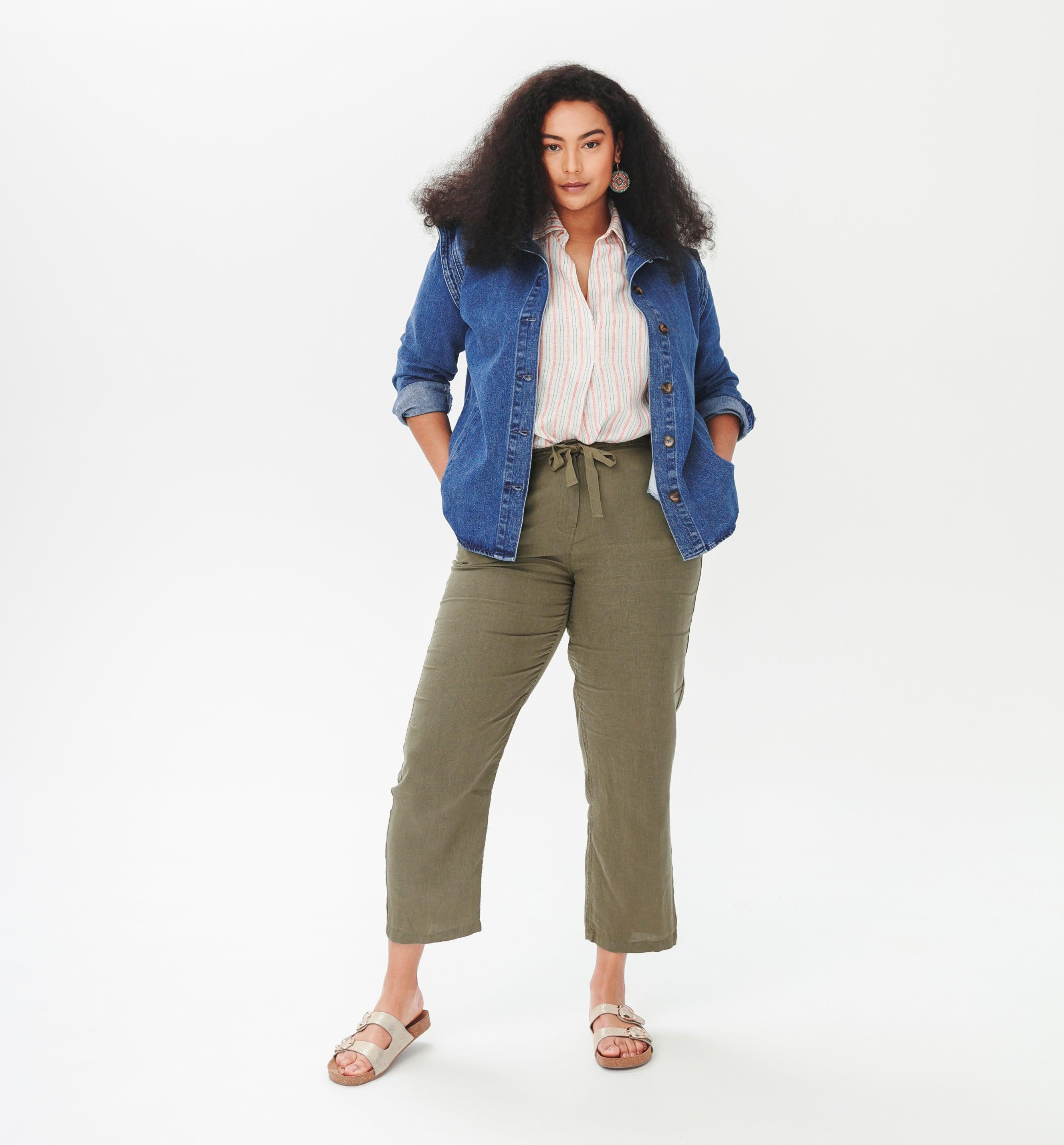 Pantalon chino en lin Femme