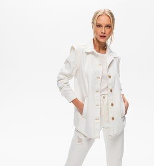 Veste épaulée en jean blanc blanc - promod