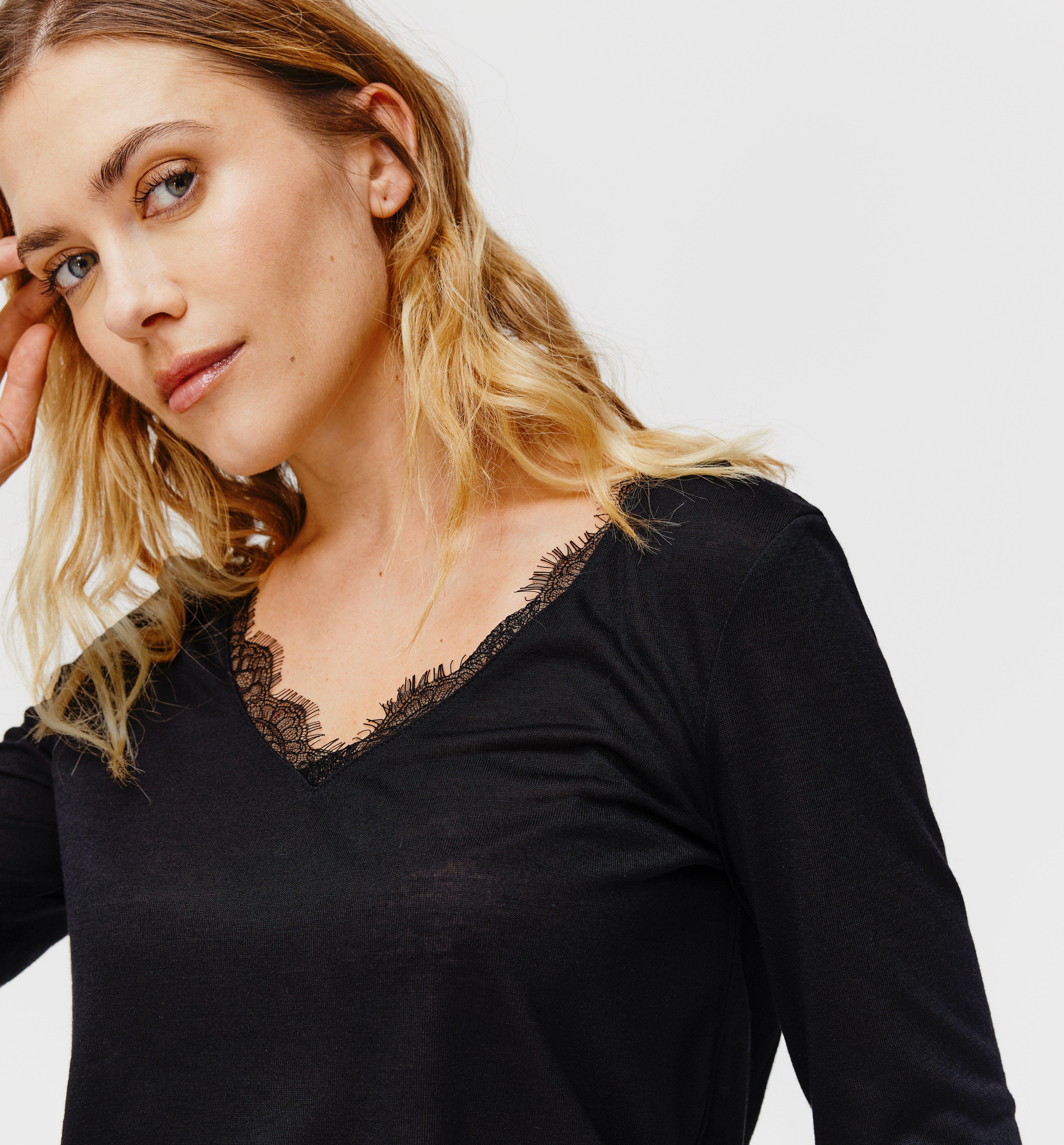 T-shirt détail dentelle Femme