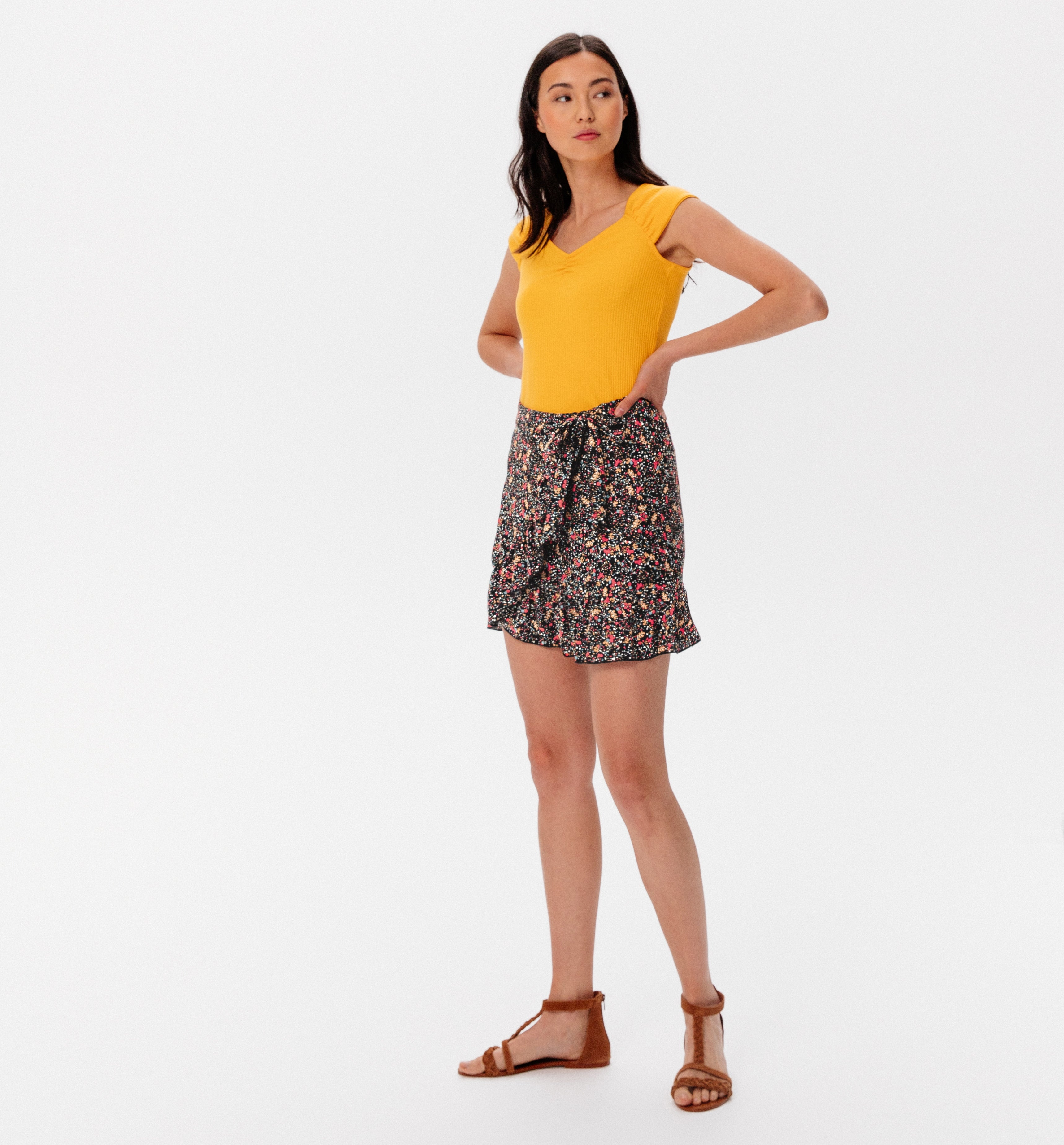 Mini-jupe volantée Femme