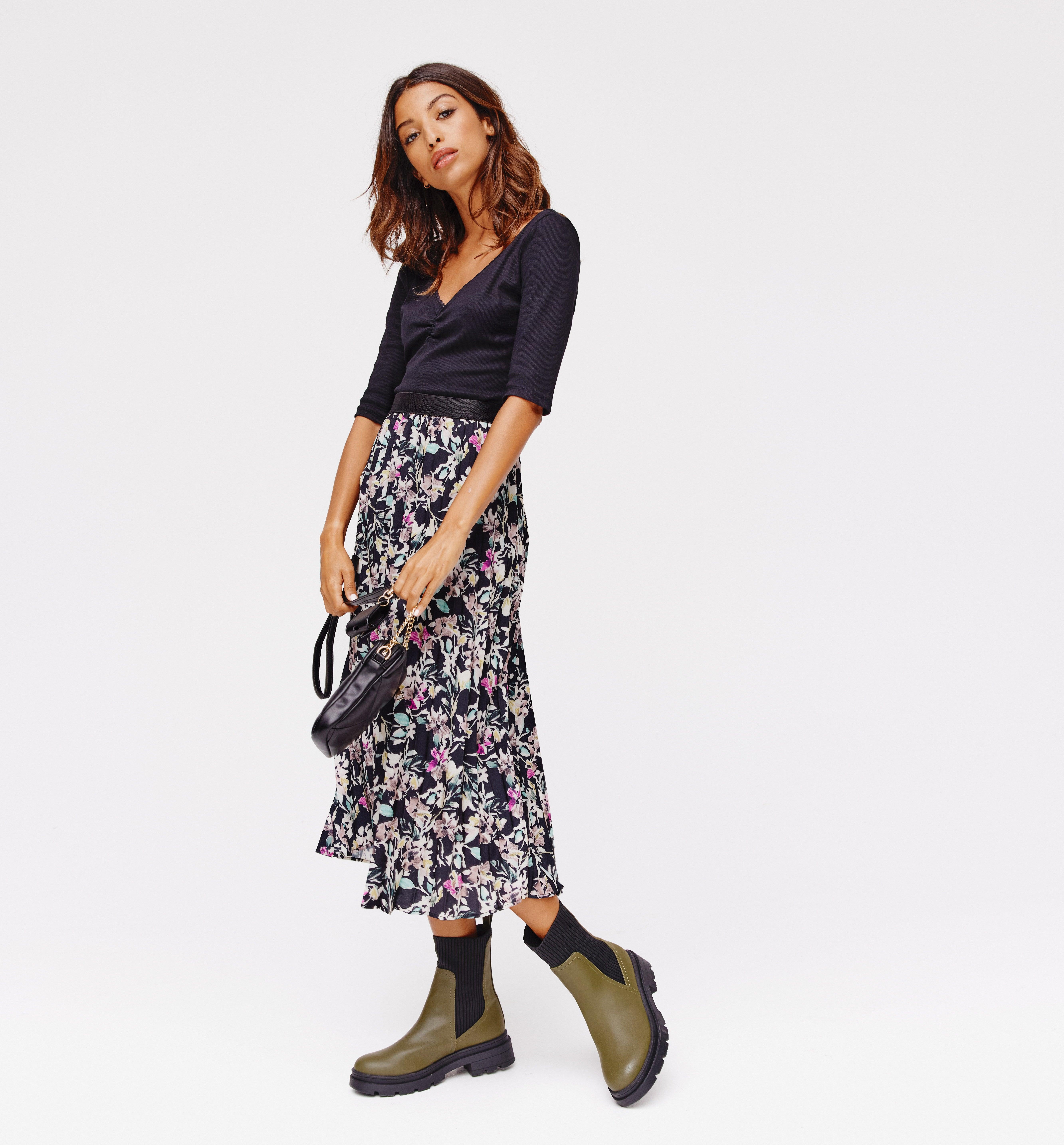 Jupe plissée imprimée Femme