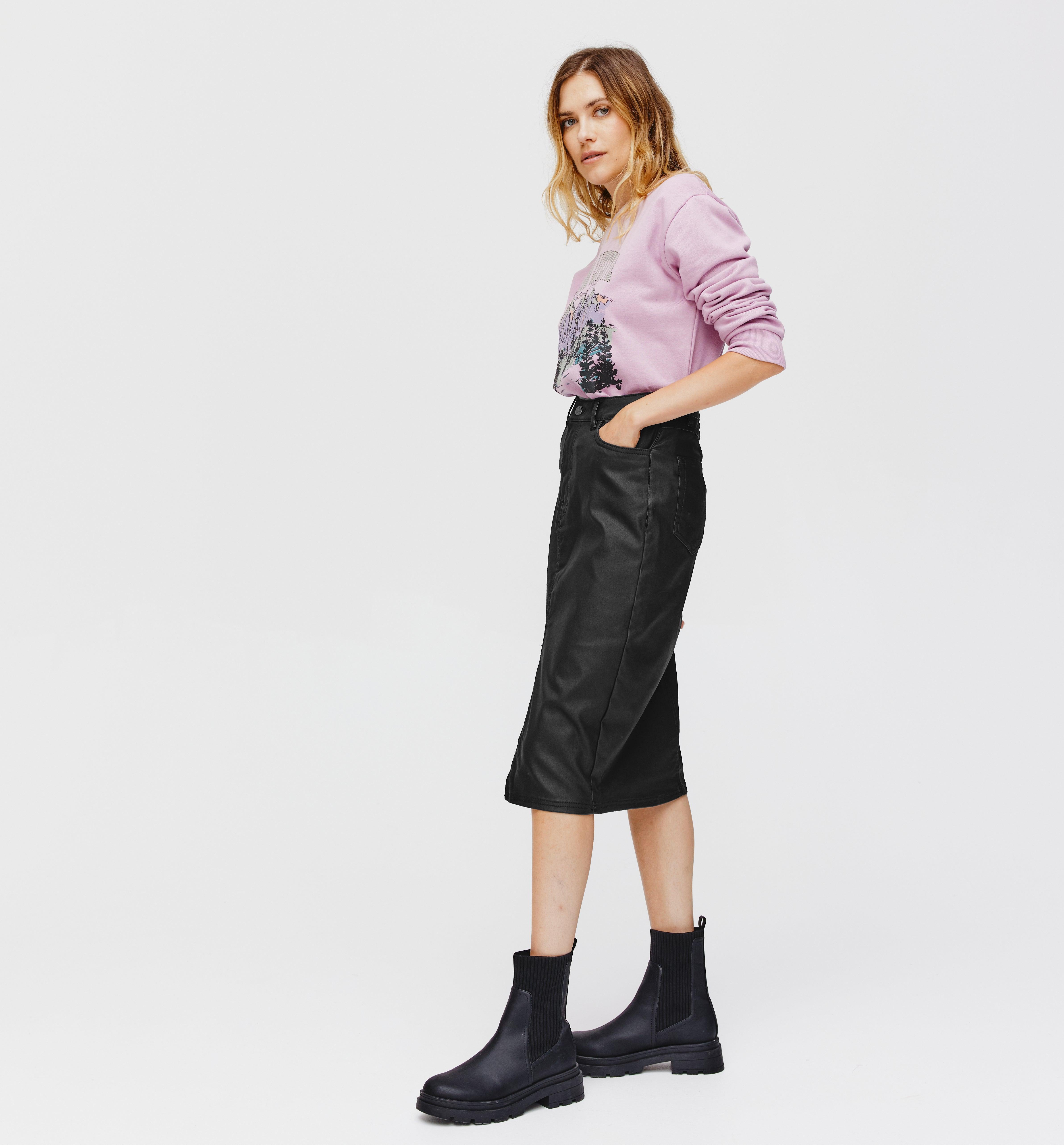 Jupe en jean enduit Femme