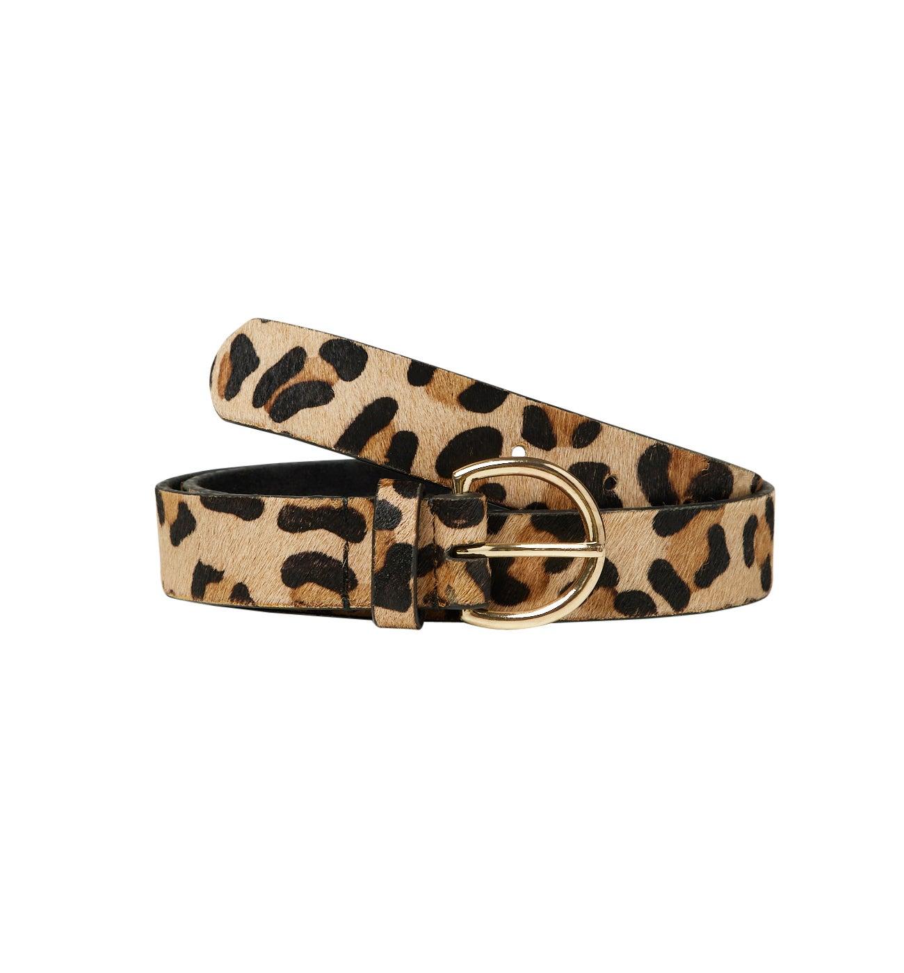 Ceinture en cuir effet léopard
