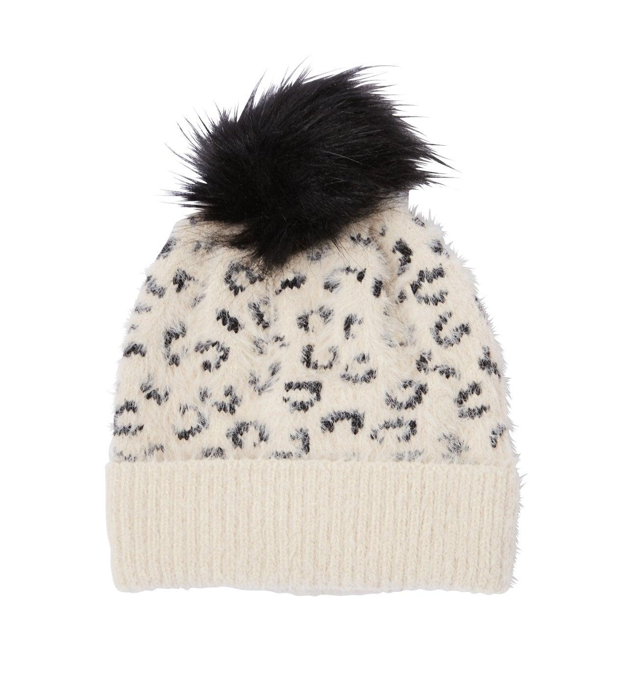 Bonnet léopard à pompon