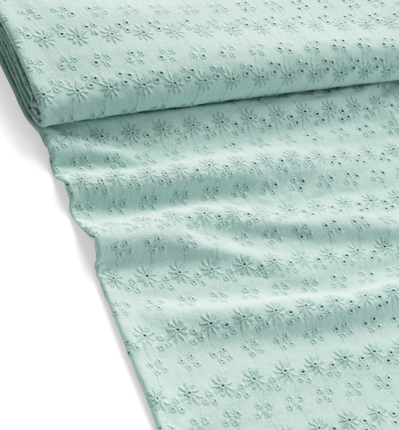 Coupon de tissu jersey brodé