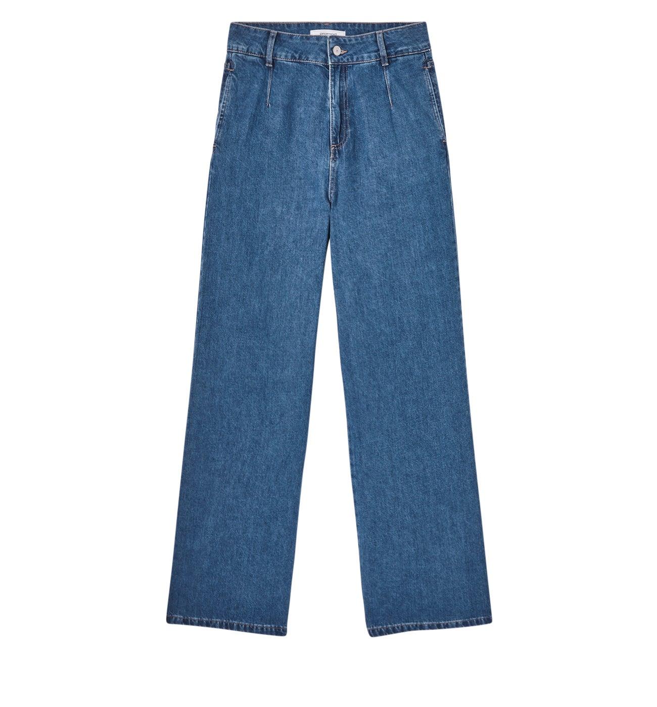 Jean large taille haute Femme