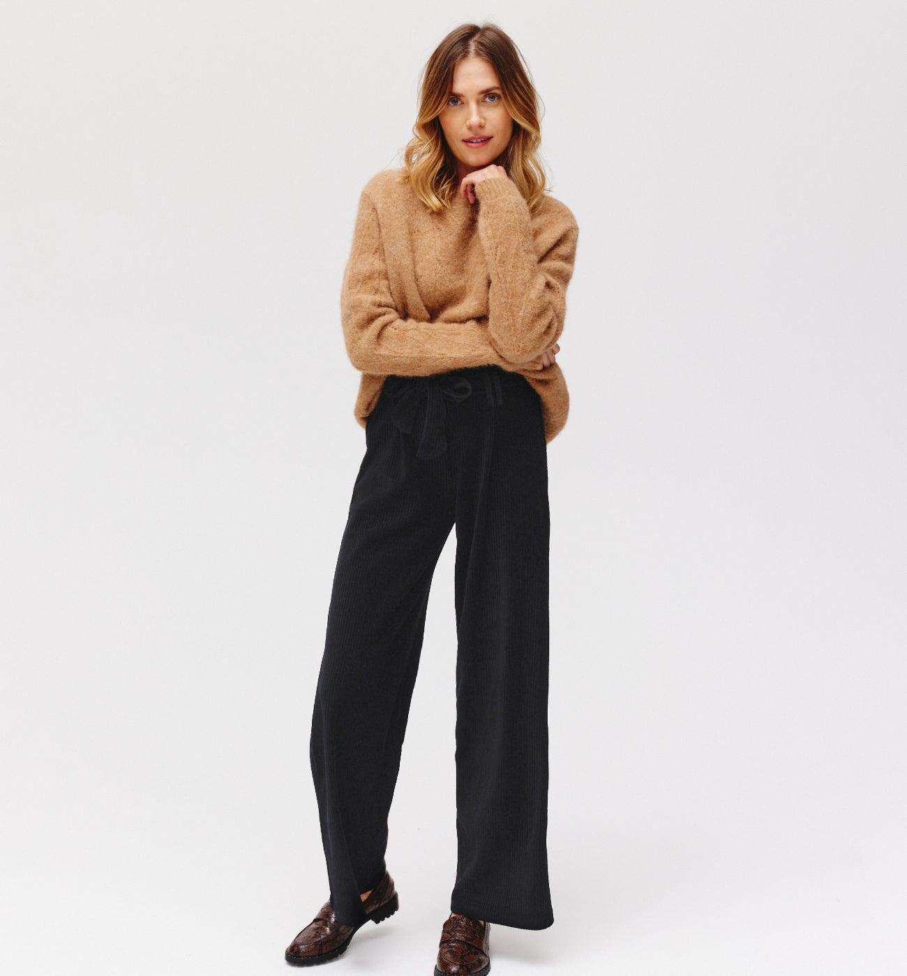 Pantalon large velours côtelé