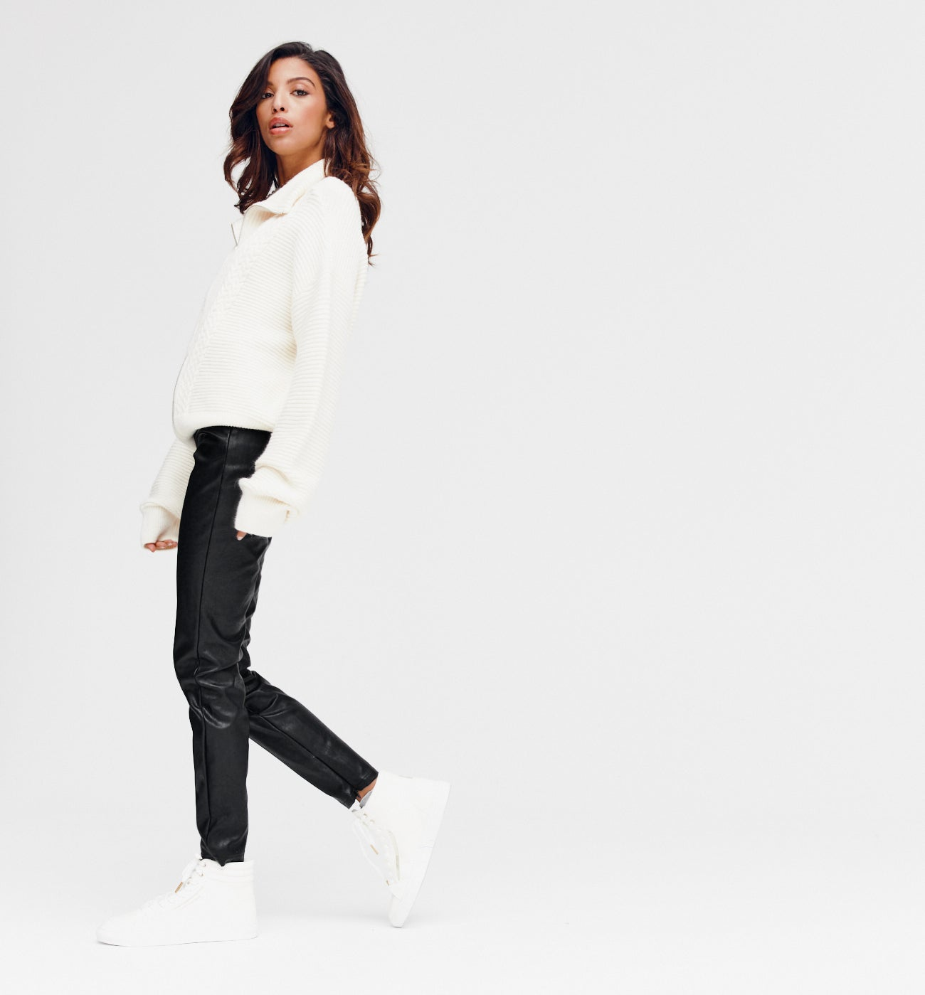 Pantalon effet cuir Femme