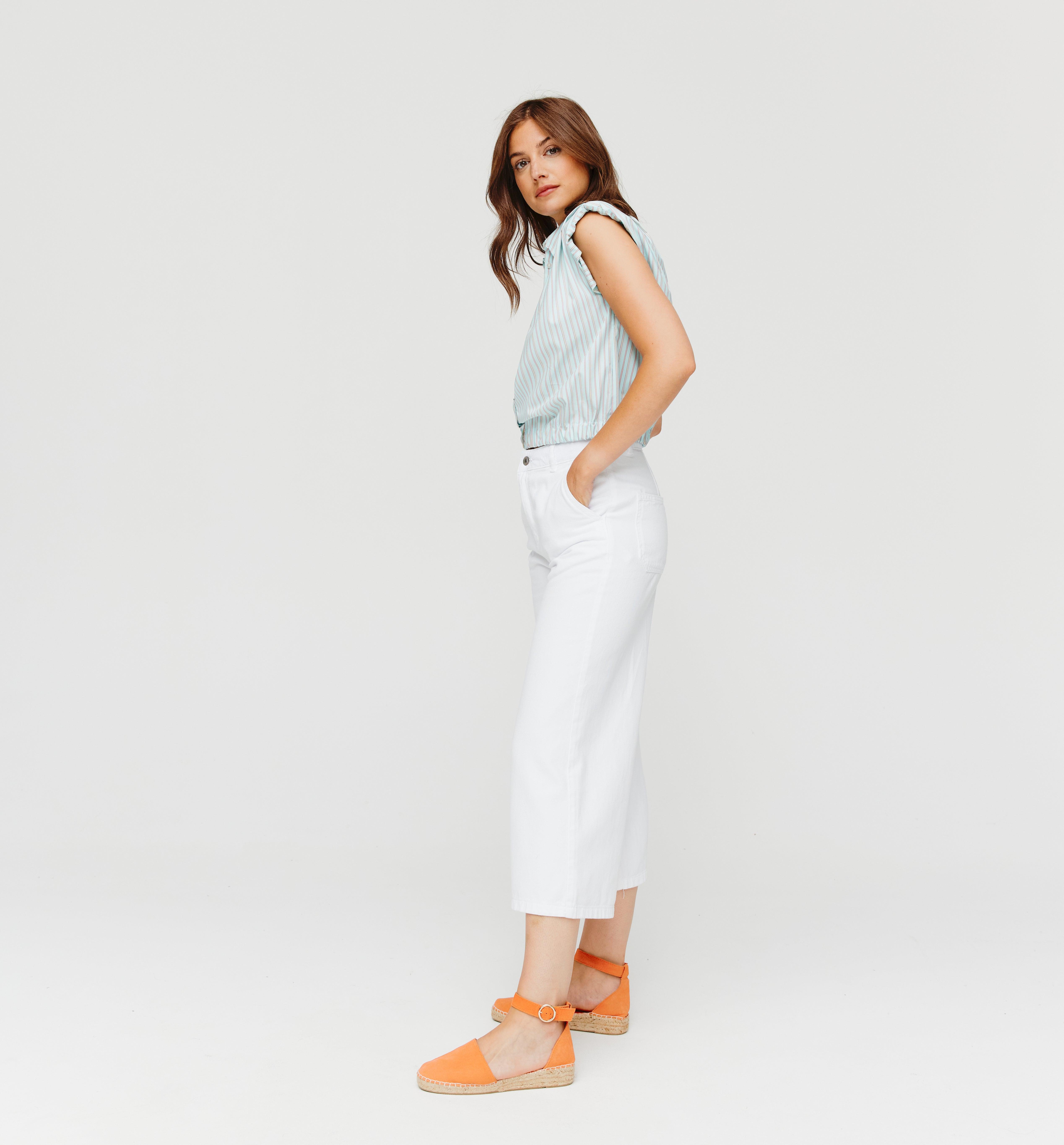 Jean cropped wide leg Femme
