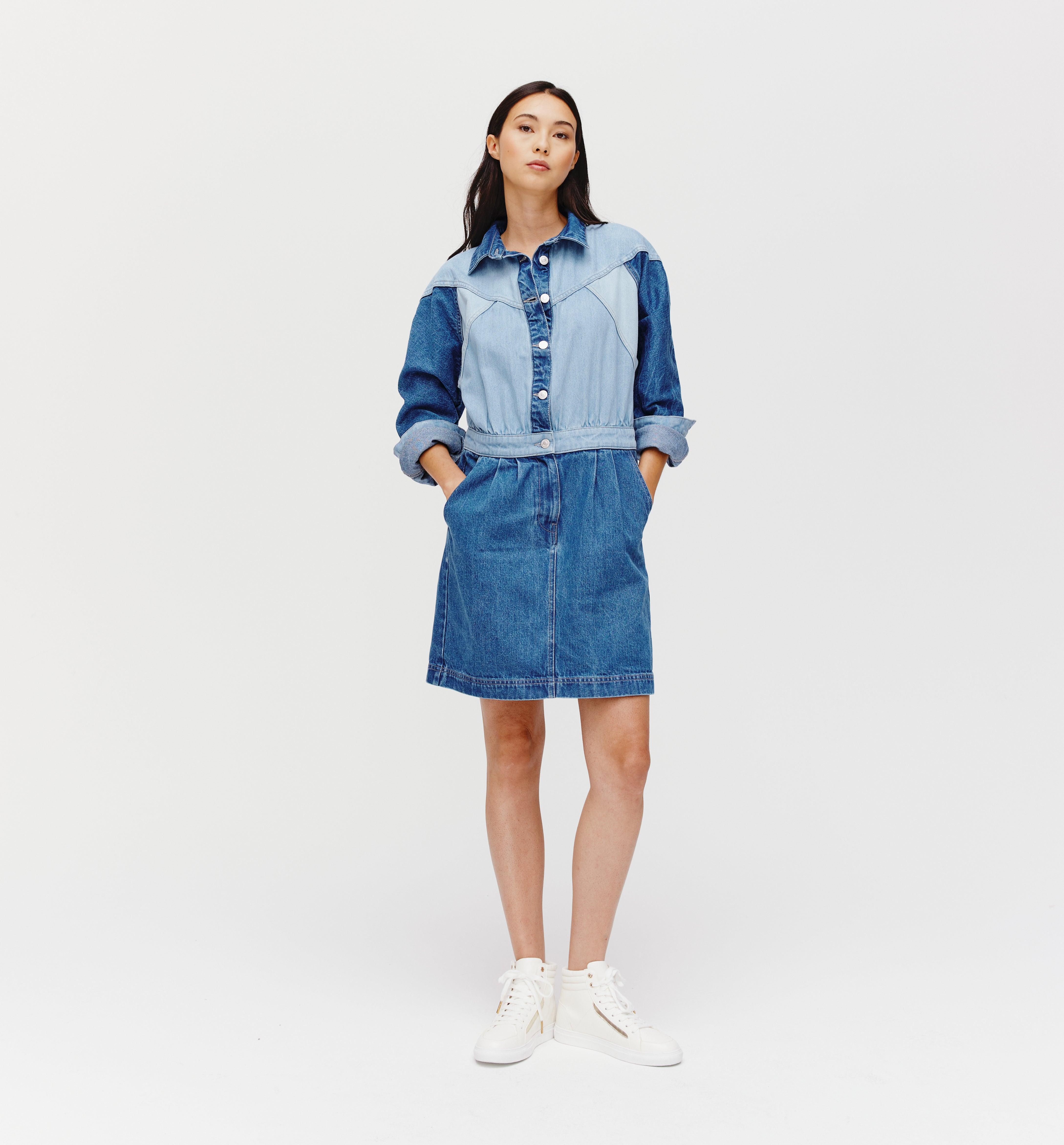 Robe en jean patchwork