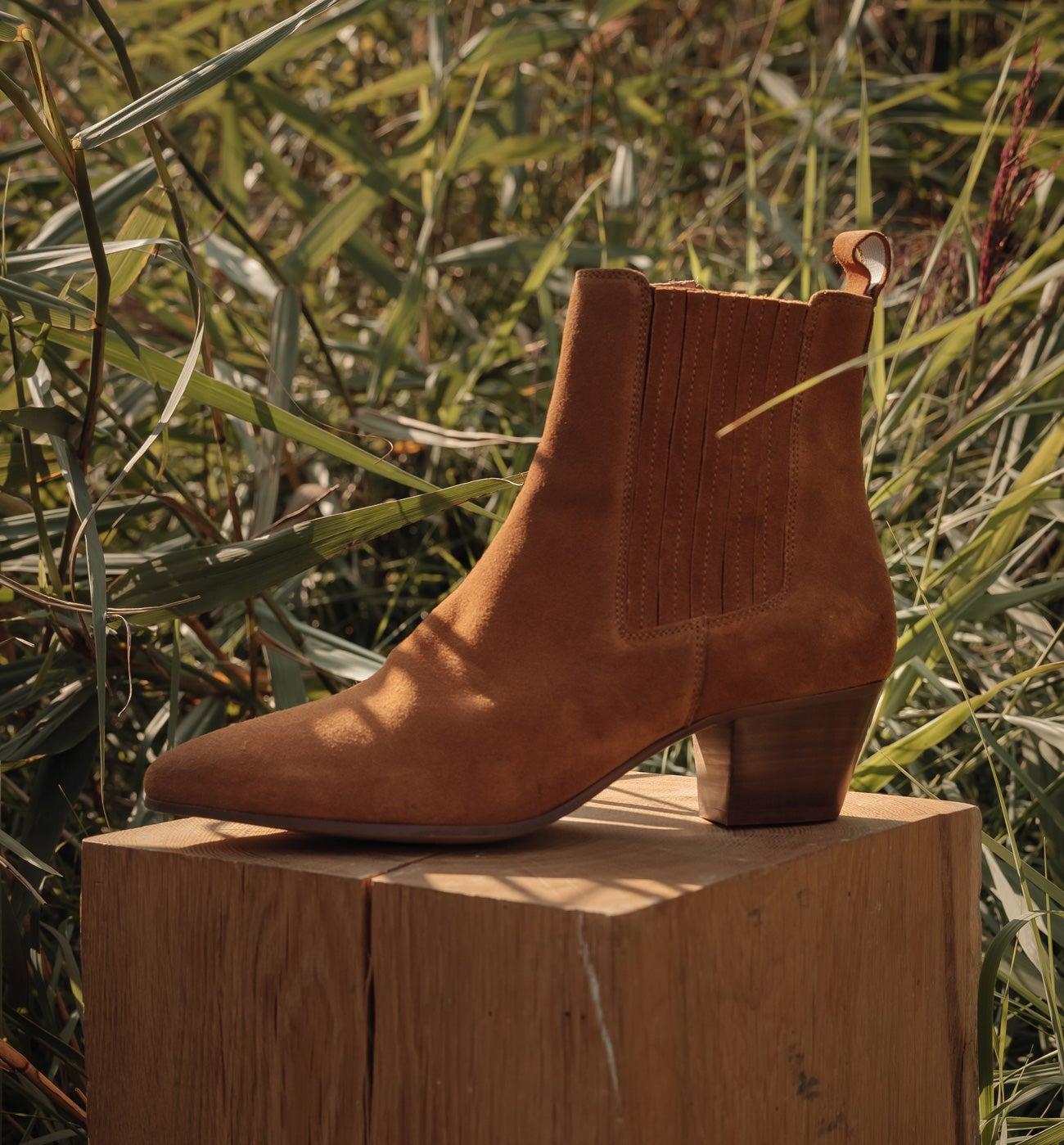 Boots western en cuir