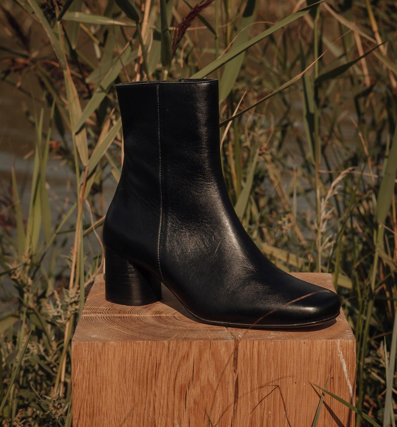 Boots en cuir à talon