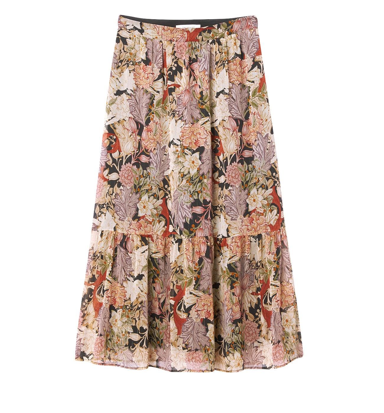 Longue jupe volantée Femme