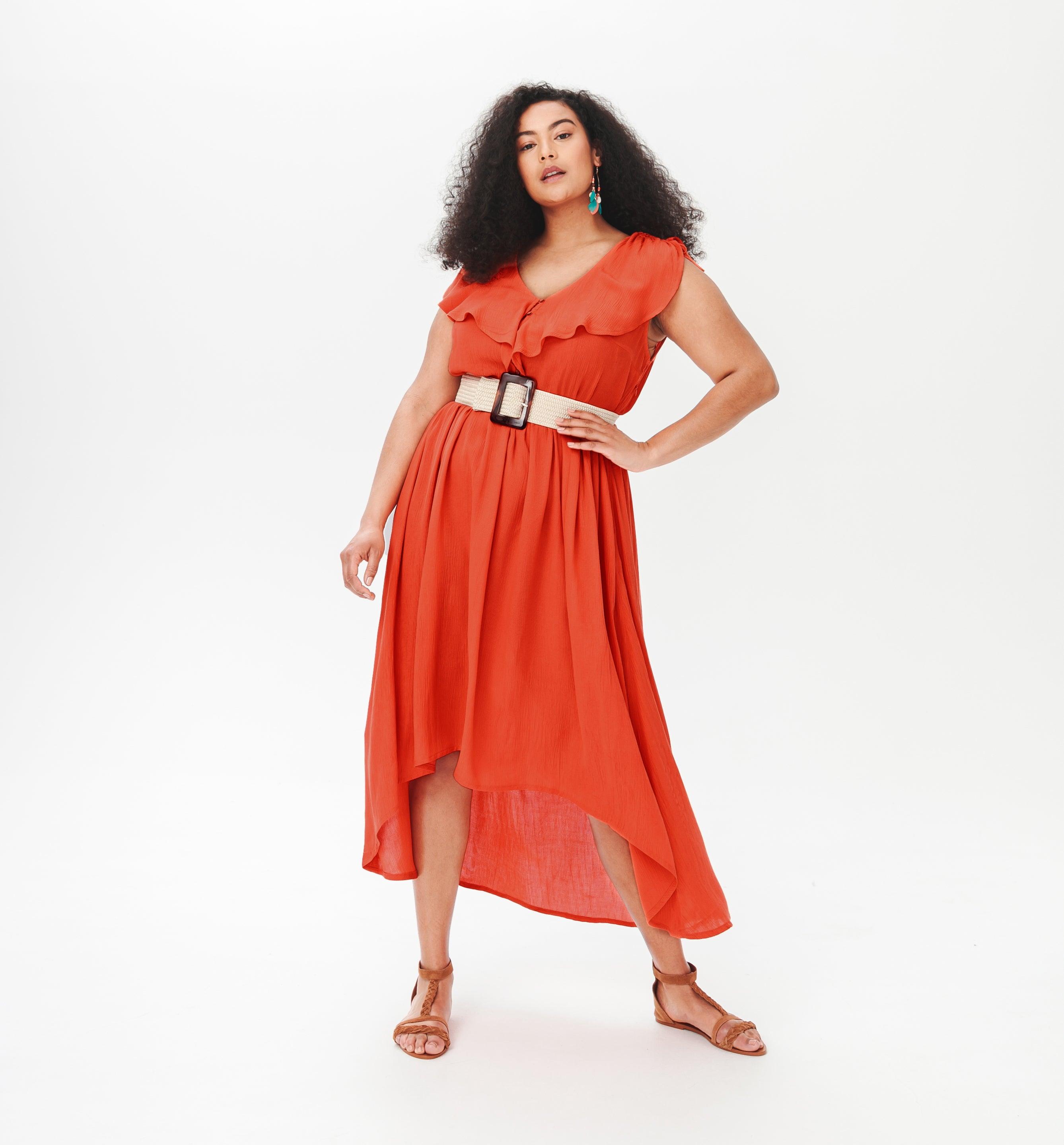 Longue robe crêpée Femme
