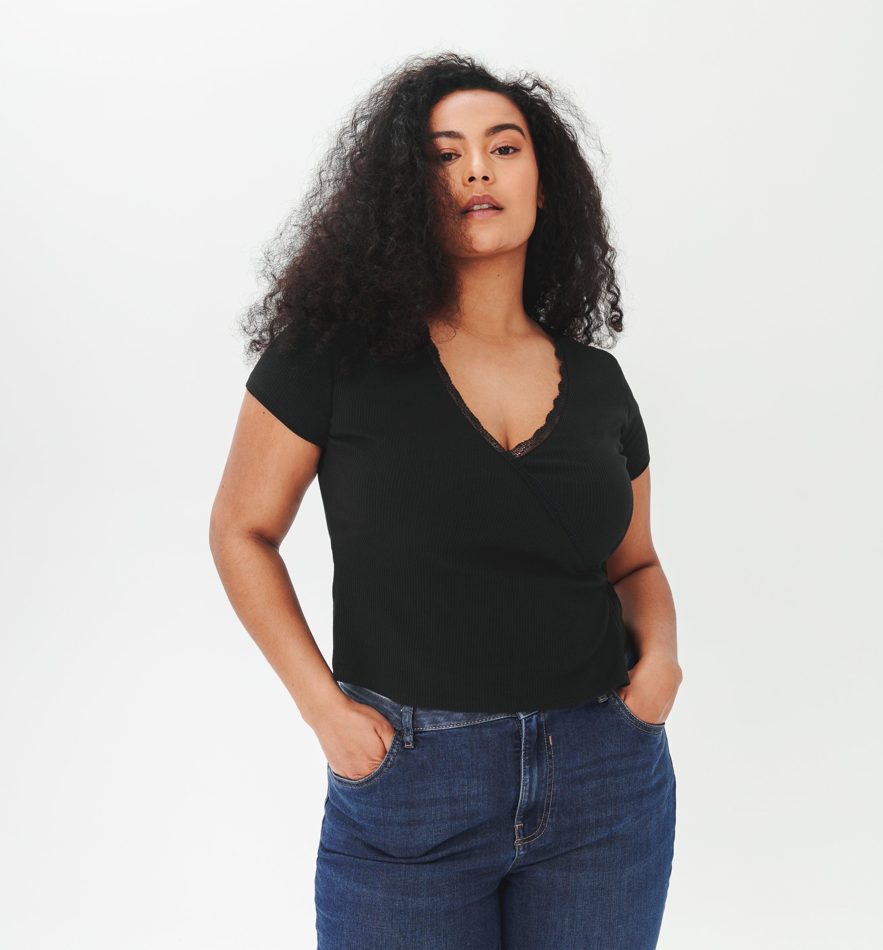 T-shirt cache-coeur côtelé