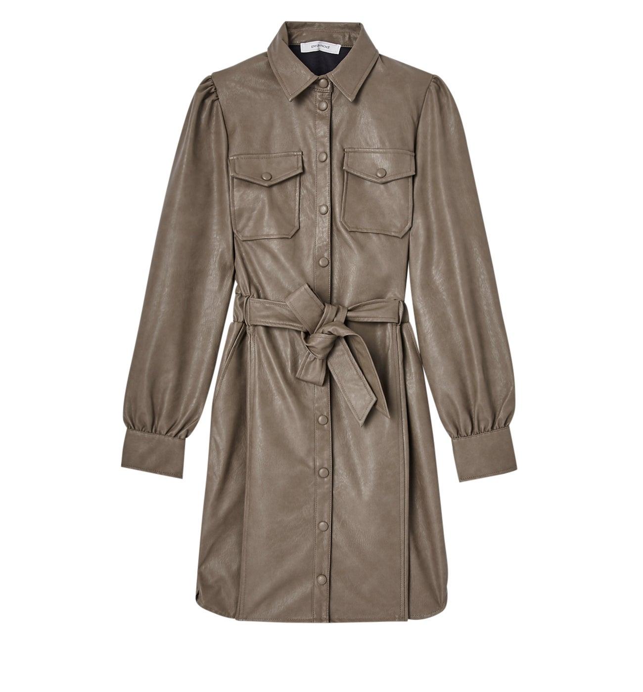 Robe-chemise effet cuir
