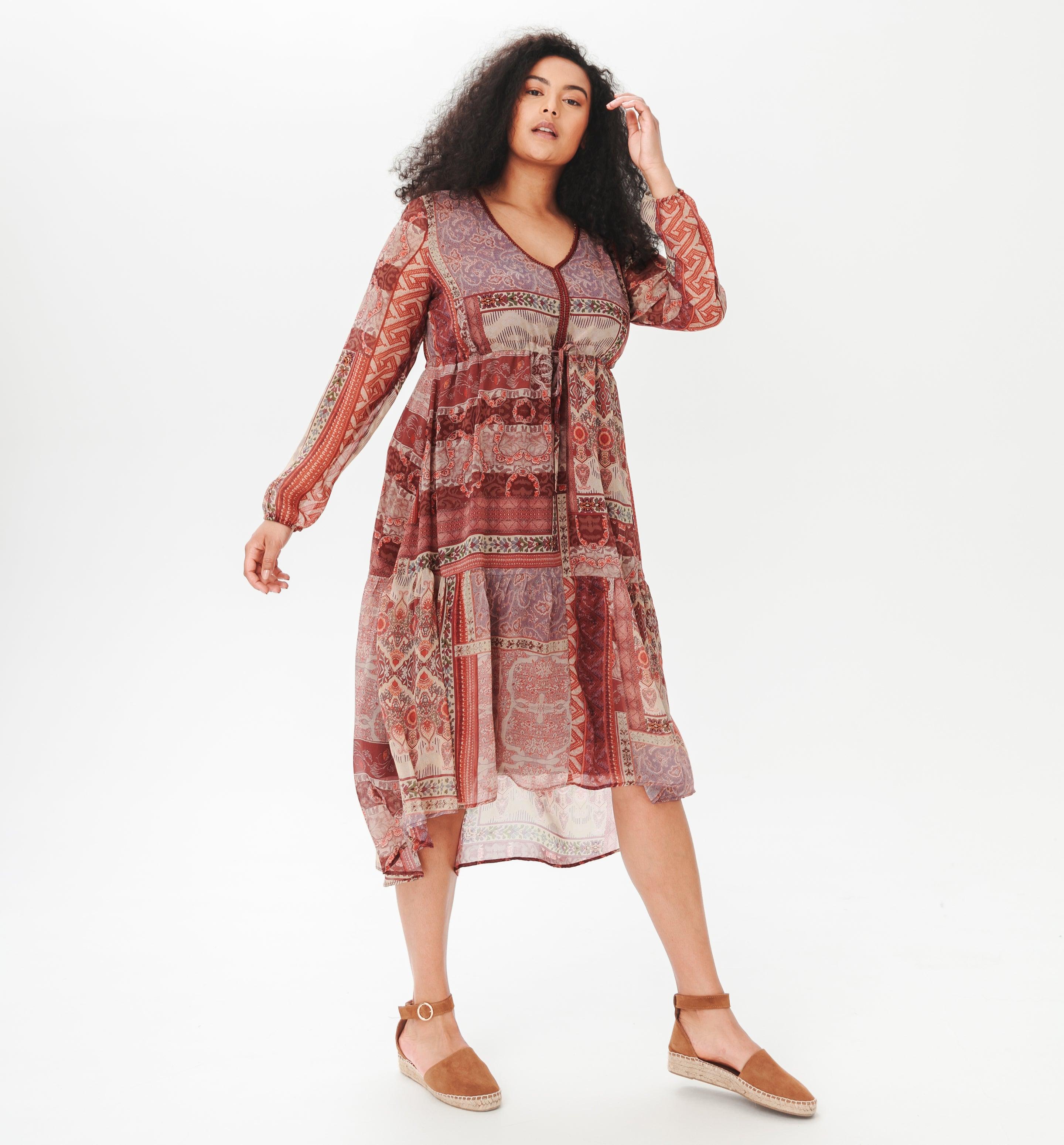 Robe en voile imprimé Femme