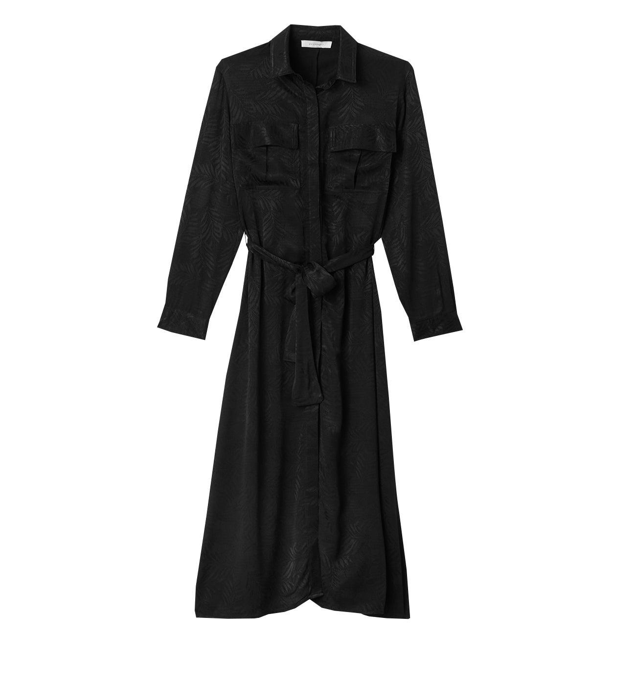 Longue robe-chemise satinée
