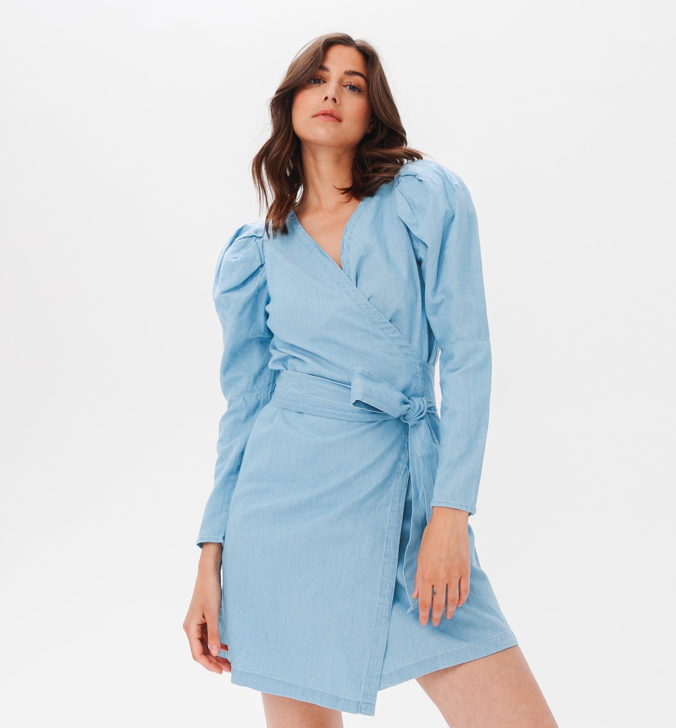 Robe cache-coeur coton et lin
