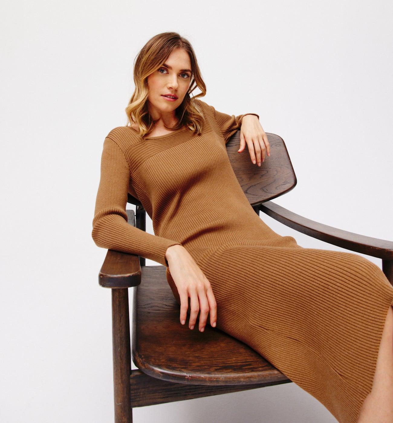 Robe-pull côtelée Femme